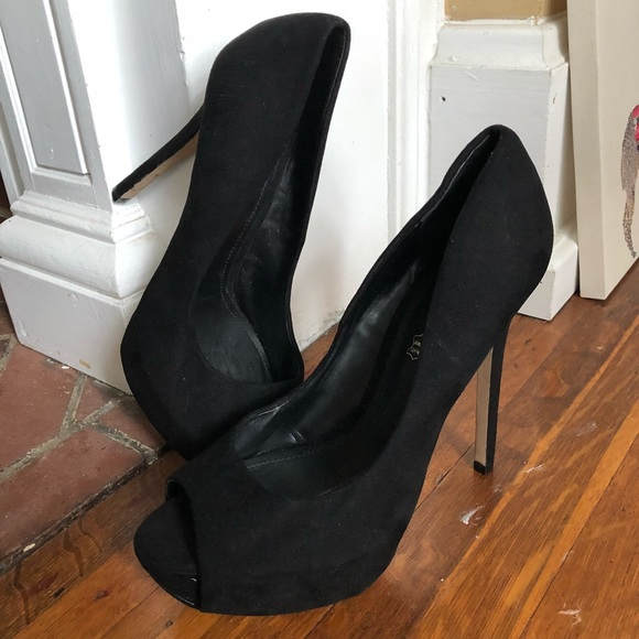 88403f6c146b Aldo Shoes | Black Suede Peep Toe Platform Heels Size 85 | Poshmark